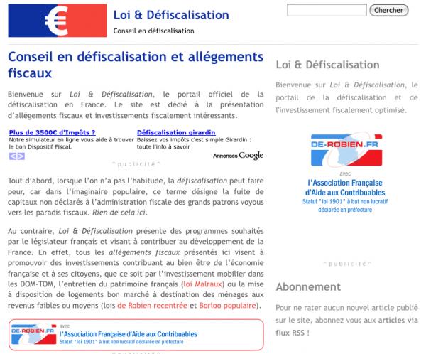Site sur les lois de défiscalisation en France