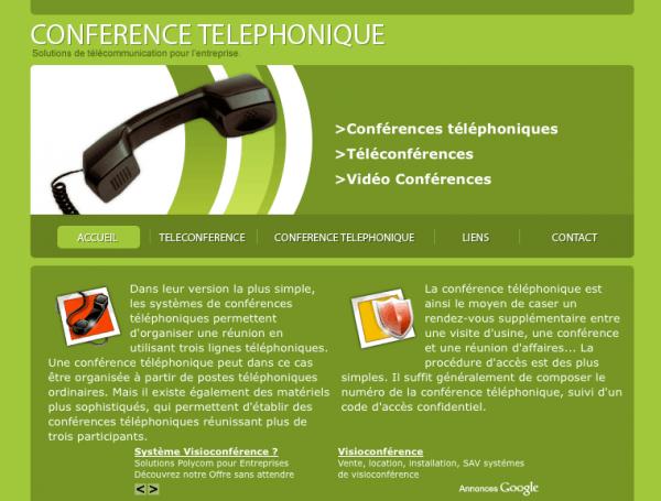 Site dédié aux solutions de conférence téléphonique