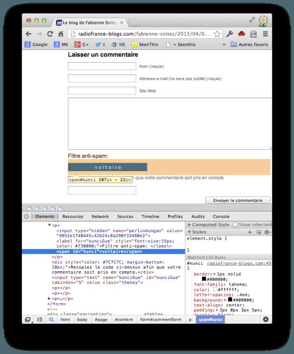Capture d'écran d'un navigateur web avec la vue utilisateur et le code source d'un CAPTCHA, où celui-ci apparaît autant lisible par un bot que par un humain