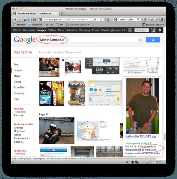 Résultats de recherche de Google Images sur la requête « Martin Korolczuk » dévoilant une photo de Matt Cutts, Responsable de l'équipe anti-spam de Google.