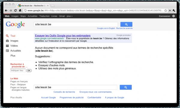 Disparition du site web « lesoir.be » des résultats de recherche de Google