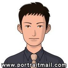 Jim Parsons dessiné par le service de génération d'avatars automatiques Portrait Mail)
