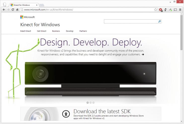 Capture d'écran du site web officiel Kinect for Windows