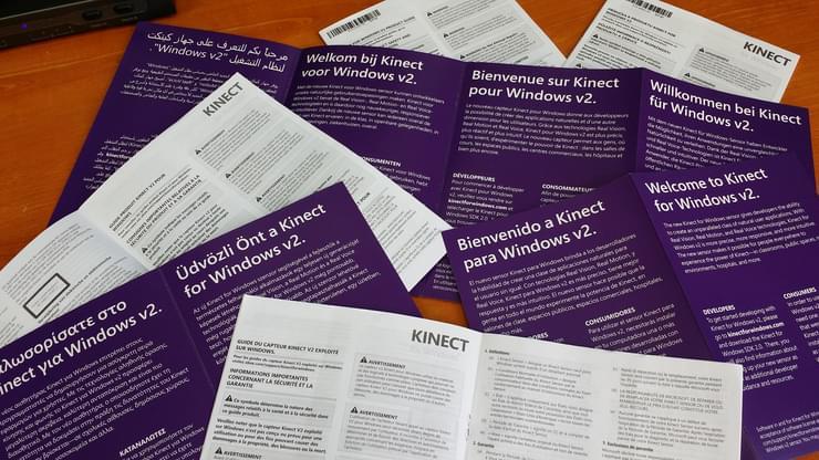 Garantie et documentation en vrac de Kinect pour Windows v2