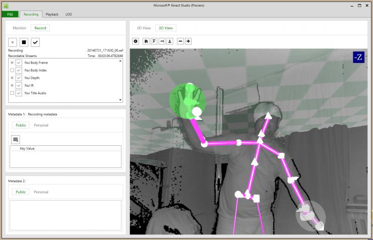 Capture d'écran du logiciel Kinect Studio livré avec le SDK dédié