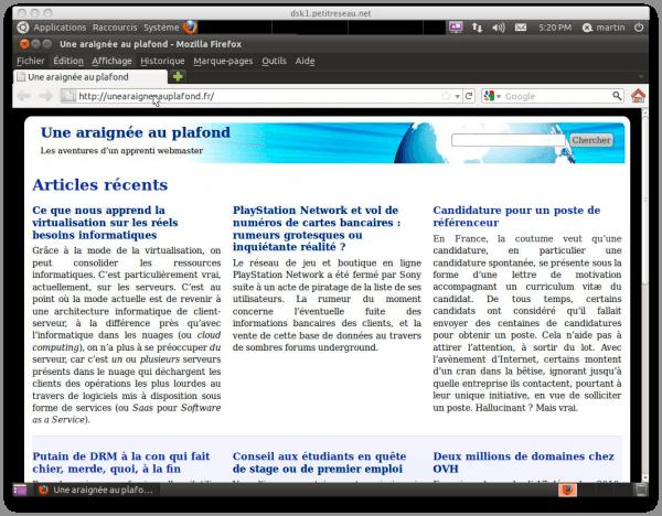 Capture d'écran d'une fenêtre VNC connectée à un bureau à distance Ubuntu Desktop montrant un Firefox ouvert sur le site « Une araignée au plafond »