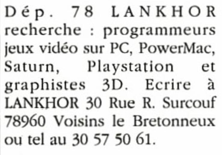 Offre d'emploi à Lankhor (avril 1996)