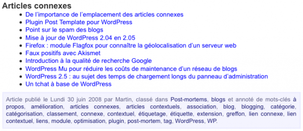 Liste d\'articles connexes via WP Related Posts