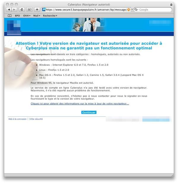 Avertissement d\'incompatibilité sur le site web de ma banque