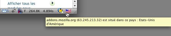 Firefox : module Flagfox pour connaître la géolocalisation d'un serveur web