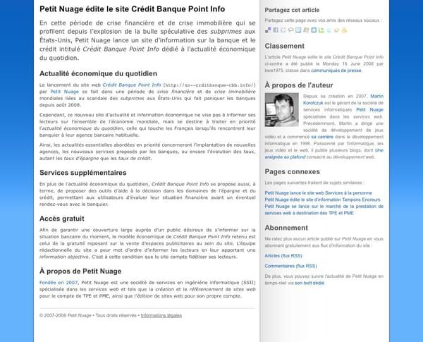 Prototype du futur site de Petit Nuage