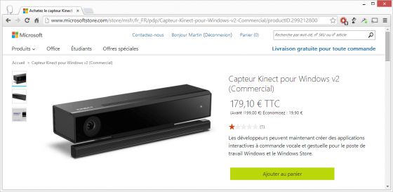 Capture d'écran de la page produit du Capteur Kinect pour Windows v2 sur le Microsoft Store