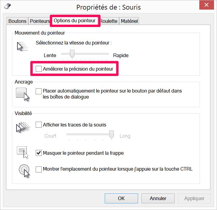 Boîte de dialogue de sélection de l'accélération du pointeur de la souris sous Windows