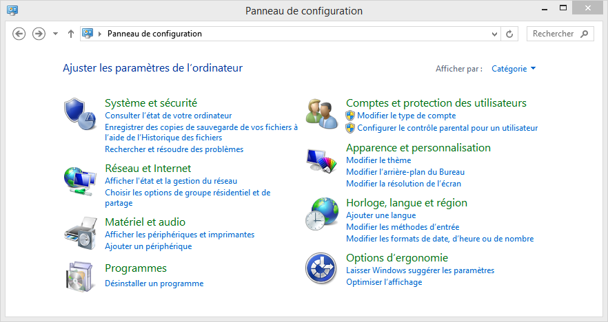 Panneau de configuration de Windows 8.1