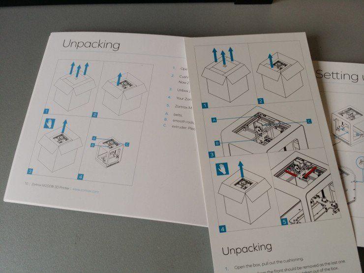 Guides de déballage et d'installation de l'imprimante sous forme d'un carton dépliable